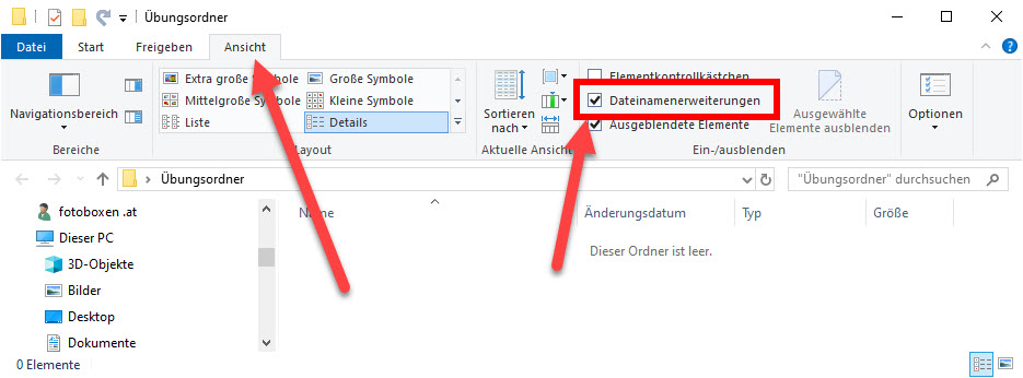 Dateinamenserweiterungen