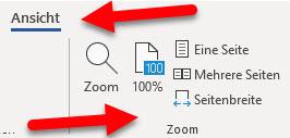 Menüpunkt-Zoom