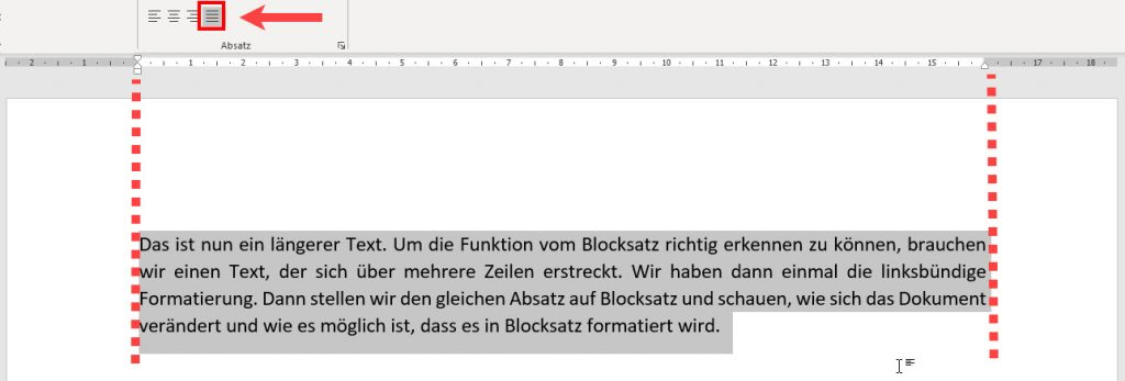 Blocksatz Word einfügen