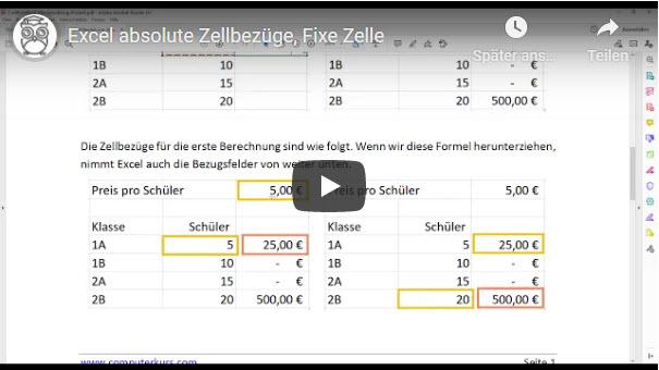 Excel absolute Zellbezüge