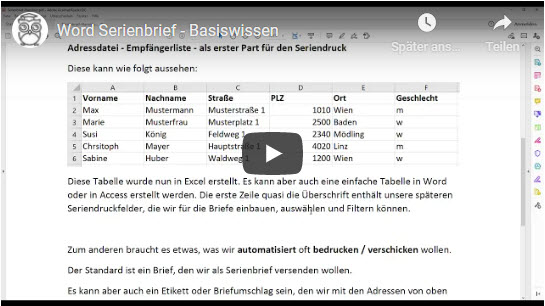 Word Serienbrief Basics