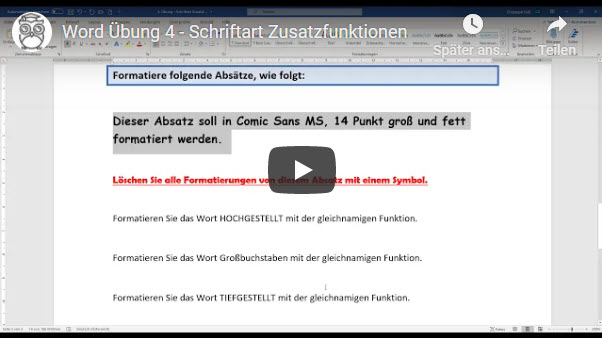 Word Video Übung 4